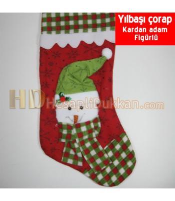 Yılbaşı noel çorapları kardan adamlı