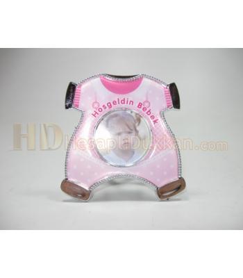 Bebek magnet çerçeve tulum şeklinde kız çocuk için pembe
