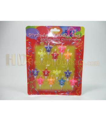Doğum günü mumları yıldız şeklinde renkli