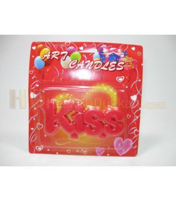 Doğum günü mumları kiss şeklinde kırmızı