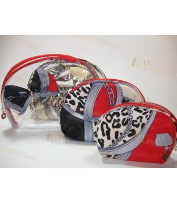 Kurdeleli su geçirmez makyaj çantası üçlü set