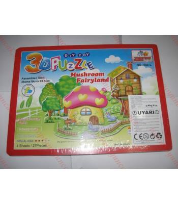 Toptan 3d puzzle periler ülkesi mantar ev