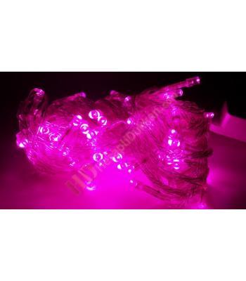 Yılbaşı ışıkları pembe renk şeffaf kablo