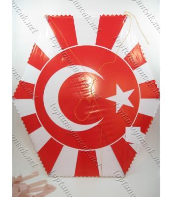 Uçurtma toptan satış kırmızı beyaz Türkiye bayraklı ip dahil
