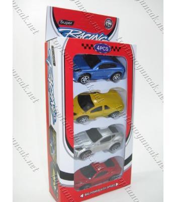 Oyuncak toptan araba seti dörtlü kutuda