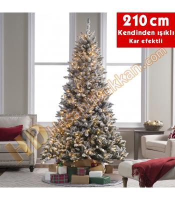 Kendinden led ışıklı yılbaşı ağacı kar efekt 210 cm