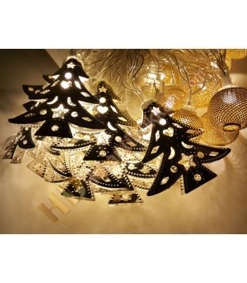 Yılbaşı ışıkları metal çam ağacı