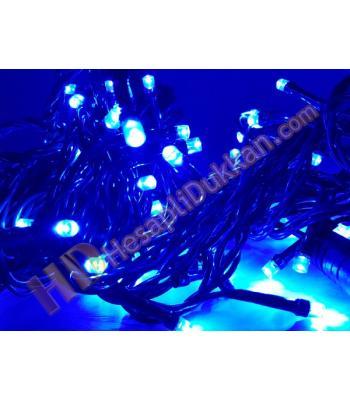 100 led eklenebilir mavi renk sabit yanar yeşil kablo yılbaşı ışığı