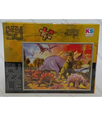 Toptan puzzle yapboz lisanslı 50 parça Dinozorlar