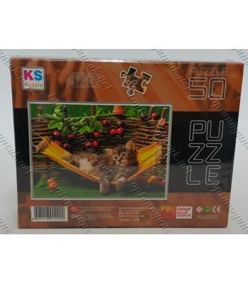 Toptan puzzle yapboz lisanslı 50 parça Hamakta Kedi