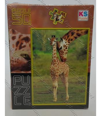 Toptan puzzle yapboz lisanslı 50 parça Zürafa
