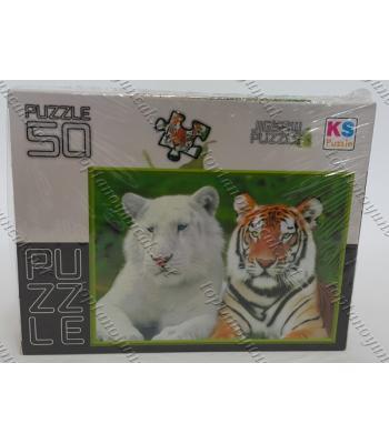 Toptan puzzle yapboz lisanslı 50 parça Beyaz Kaplan