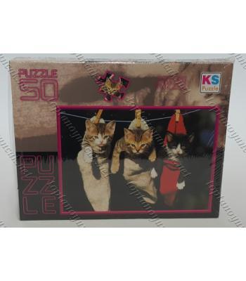 Toptan puzzle yapboz lisanslı 50 parça Çorapta Kedi
