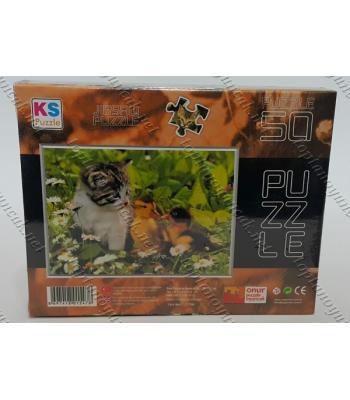 Toptan puzzle yapboz lisanslı 50 parça Ördek ve Kedi