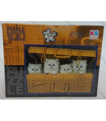 Toptan puzzle yapboz lisanslı 100 parça Beyaz kediler