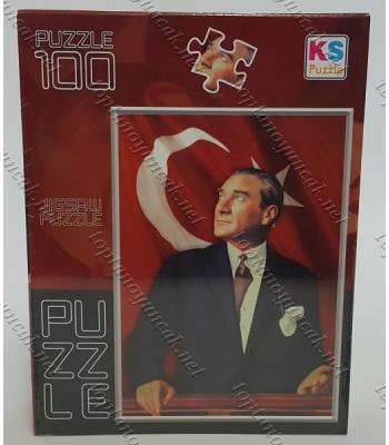 Toptan puzzle yapboz lisanslı 100 parça Atatürk Bayrak