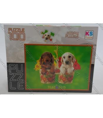 Toptan puzzle yapboz lisanslı 100 parça Şirin Köpekler