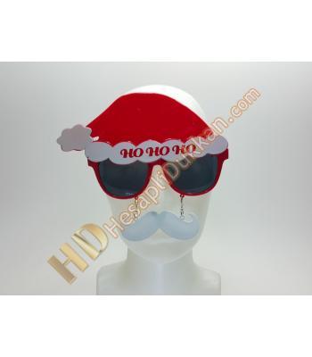 Şapkalı bıyıklı noel gözlük