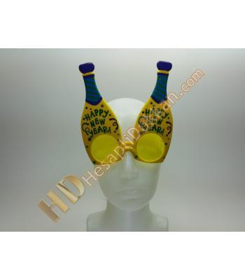Şampanya şişesi şeklinde yeni yıl mesajlı gözlükler