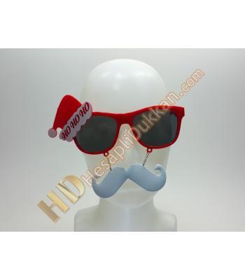 Şapkalı bıyıklı nole baba yılbaşı parti gözlükleri