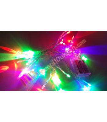 Yılbaşı pilli ışıkları Karışık renk yanar şeffaf kablo
