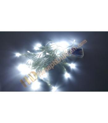 Pilli yılbaşı ışıkları beyaz şeffaf kablo yarı fonksiyonel