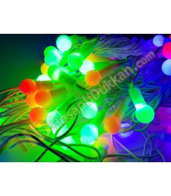 10 metre beyaz kablo karışık renk top yılbaşı ışıkları