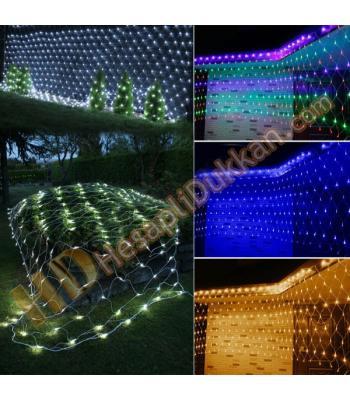 Yılbaşı ağ ışık 2 x 2 karışık renk ışık beyaz kablo fonksiyonel