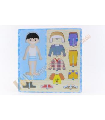 Giydirmeli ahşap puzzle eğitici oyuncak