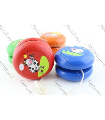 Promosyon oyuncak yoyo ahşap renkli figürlü