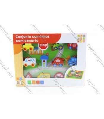 Promosyon eğitici oyuncak ipli dizgili ahşap tarfik eğitimi