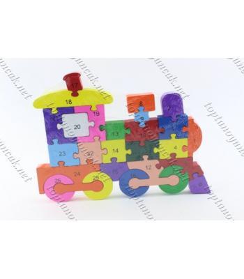 Toptan ahşap eğitici oyuncak puzzle Tren