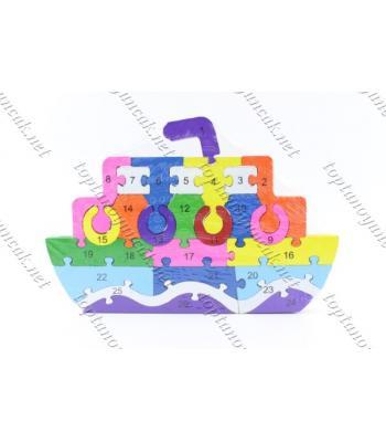 Toptan ahşap eğitici oyuncak puzzle gemi