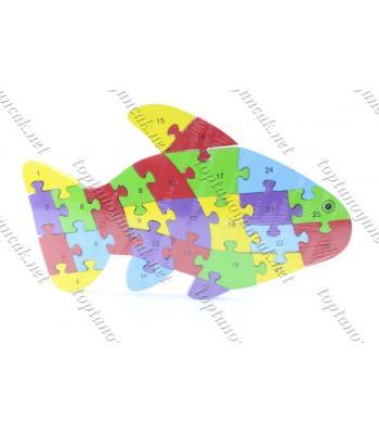 Toptan ahşap eğitici oyuncak puzzle balık