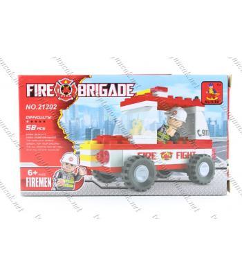 Yangın itfaiye arabası 58 parça kutulu lego