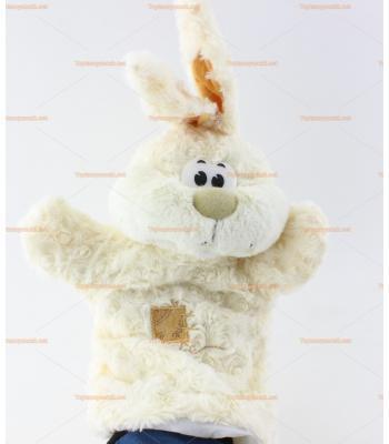 Toptan el kuklası beyaz peluş tavşan