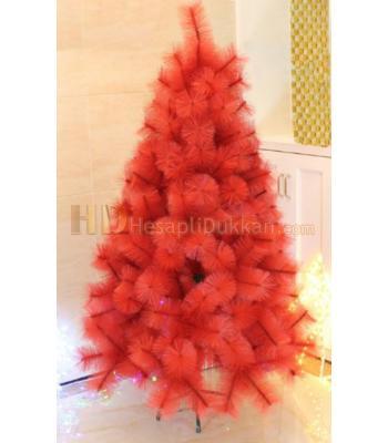 Kırmızı renk yılbaşı ağacı iğne yapraklı 180 cm
