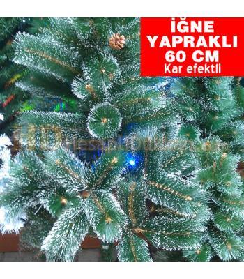 İğne yapraklı yeşil beyaz kar efektli 60 cm kozalaklı yılbaşı ağacı