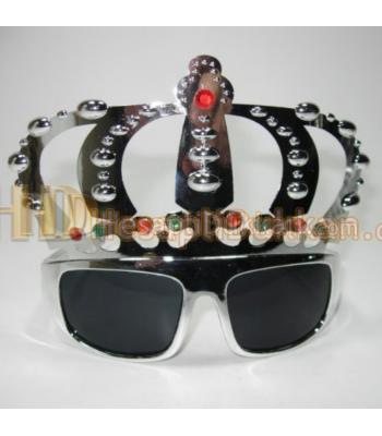 Taçlı parti gözlüğü kral gözlük gümüş renk