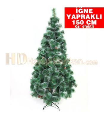İğne yapraklı yeşil beyaz kar efektli 150 cm kozalaklı yılbaşı ağacı
