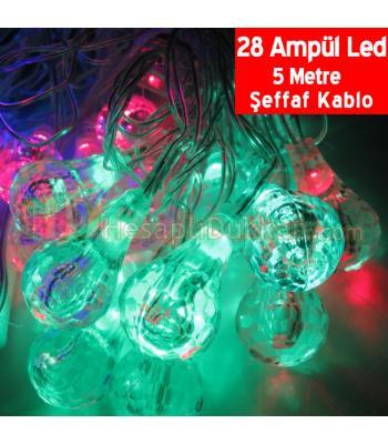 Ampül şeklinde yılbaşı ışıkları 28 led 5 metre