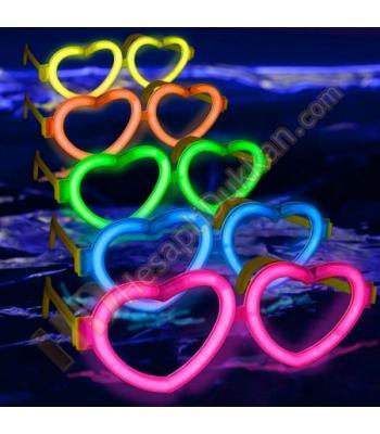 Glow ışıklı gözlük kalpli yeni model