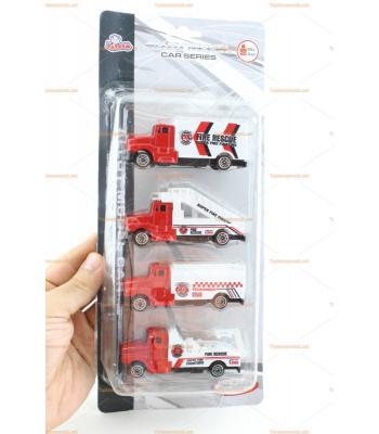 Toptan itfaiye oyuncakları seti dörtlü araba