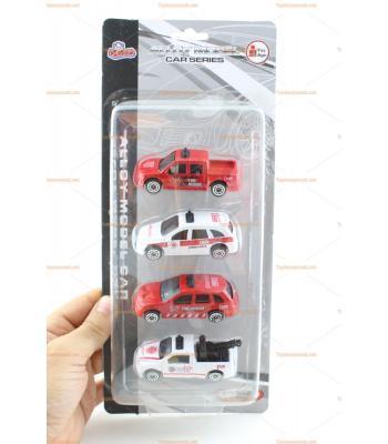 Toptan oyuncak dörtlü araba seti itfaiye ambulans