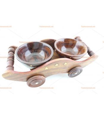 İkili tekerlekli çerez seti ahşap