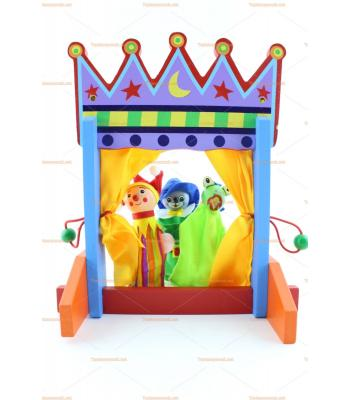 Ahşap eğitici oyuncak 6 parmak kukla ile sahne