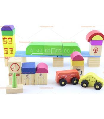 Toptan eğitici ahşap oyuncak tren ve otobüs istasyonu