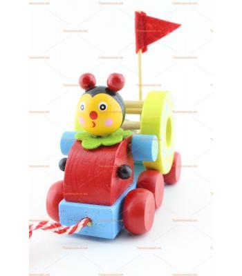 Toptan ahşap oyuncak silindirli çıngıraklı kamyon