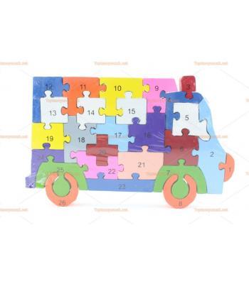 Toptan parçalı ahşap puzzle kamyonet