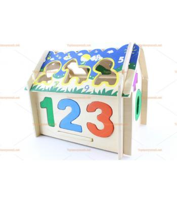 Toptan ahşap eğitici oyuncak sök tak ev rakamlı şekilli